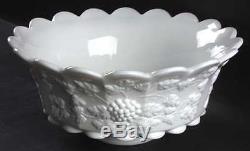 Westmoreland PANELED GRAPE MILK GLASS Punch Bowl 769625