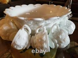 Westmoreland Panel Grape Milk Glass Punch Bowl Set