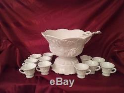 Westmoreland Paneled Grape Milk Glass Punch Bowl Set