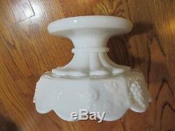 Westmoreland Punch Bowl Set 8 Cups Base Fruit Milk Glass Elegant White EUC #N34