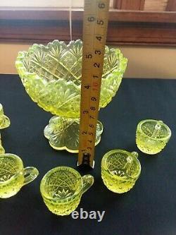 Westmoreland Vaseline Glass Mini Punch Bowl Set Of 6 Cups Excellent