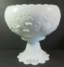 Westmoreland White Milk Glass Punch Bowl Set 12 Cups Grapes Cherry Pineapple