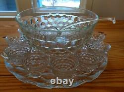 Whitehall Indiana glass 14 Punch Bowl with18 Cups, Ladle and Stand