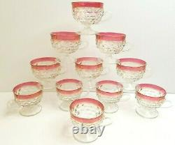 Whitehall Red Ruby Flash Crystal Colony Punch Bowl Cup Set Vintage Indiana Glass