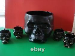 Williams Sonoma Skull Punch Bowl Skeleton Set 4 Mugs New Sold Out