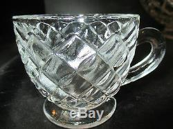 Williamsburg Tiffin Franciscan Punch Bowl FOOTED CUPS 17 pieces Diamond Design